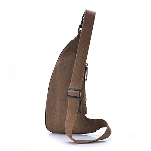 UNIVES Slingbag Dreieck Rucksack Gürteltasche Brustbeutel Umhängetasche Crossbag aus Canavas mit Handyfach Unisex Kaffee Sling Bag-Kaffee