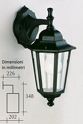 Applique per esterno con braccio - forma esagonale - colore nero - per montaggio a parete