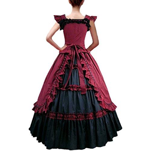 Partiss Robe de bal masqué gothique à volants pour Femme Rouge - Rouge bordeaux