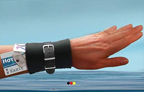 Armbandtasche schwarz FÜRS WASSER Wassersport bunt Tasche Wasser Aqua Safe Handgelenktasche Stretch Armband Geldbörse Reißverschluss Handgelenk Portemonnaie Geldgürtel Strand Armtasche (Bunte Safe)
