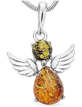 Bernstein Schutzengel Engel 925 Silber Kettenanhänger mit Sterlingsilber Halskette #1778