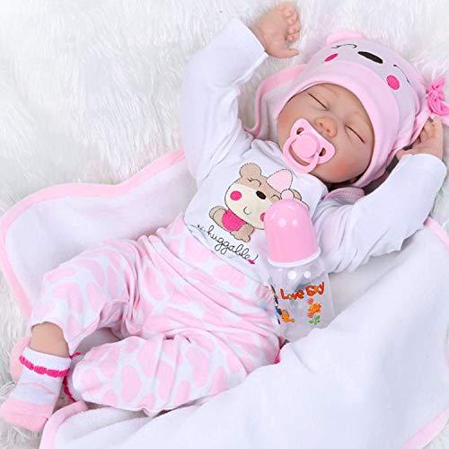 NPKDOLL Realista Durmiendo Muñecas Reborn Muñecos bebé de Silicona Niña Reborn Baby Doll Ojos Cerrados Recién Nacido bebé 22 Pulgadas 55 cm