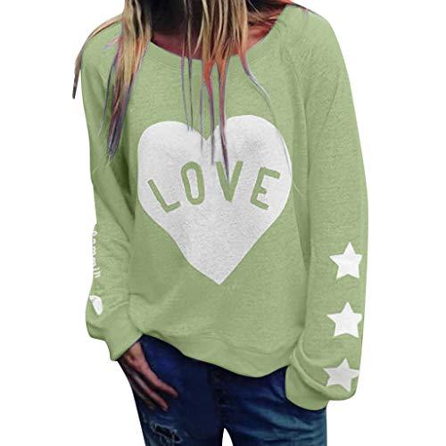 Masoness  Womens Brief drucken Liebe Slogan T-Shirt Sommer Damen Langarm Bluse Tops,Damen-Liebesbrief-Druck-beiläufige Sweatshirt-Oberseite -