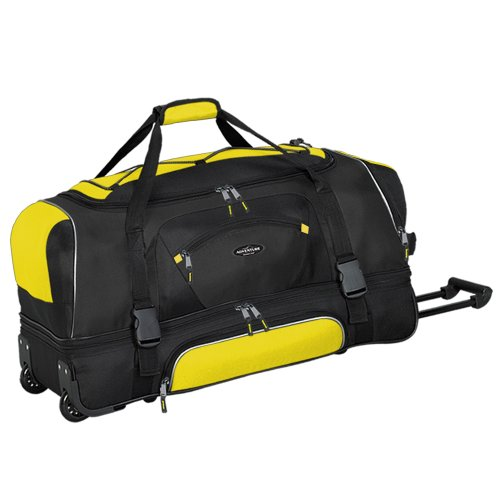 travelers-club-bagaglio-adventure-914-cm-2-section-drop-bottom-rolling-duffel-yellow-black-taglia-un