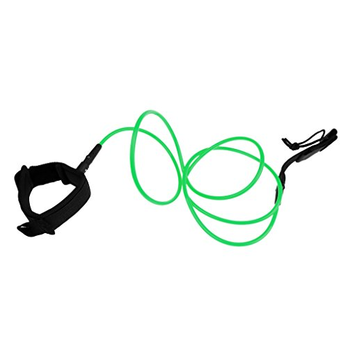 MagiDeal 7mm 6ft Robustesse Leash Surf Corde de Sécurité de Surf Sangle de Cheville Double Pivotant en Inox - vert, Taille Unique
