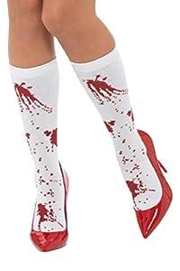 Smiffys 44773 - Calcetines unisex para adulto, color blanco y rojo, talla única