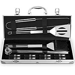 BBQ Accessories BBQ Barbecue Tools, Youngdo 20PCS Barbecue Utensil Set Stainless Steel Barbecue Grilling Accessories Tools with Aluminum Storage Case Ideal for Outdoor Camping Party