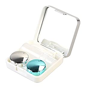 ROSENICE Contact Lens Case Mini Travel einfach Kontakt Fall Container Holder(Silver white)