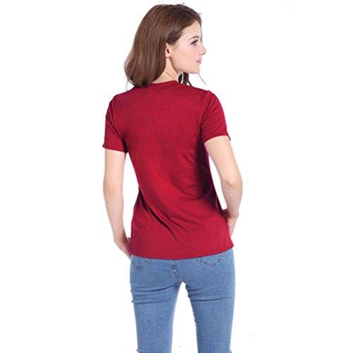Bluestercool Femme T-shirt Mode Trous à manches courtes Tops décontractés Vin rouge