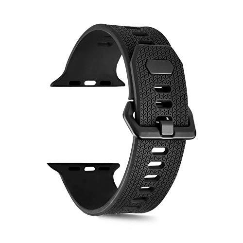 HWeggo Unisex Silikon Ersatzband für Apple Watch Serie 1 2 3 42mm Schwarz