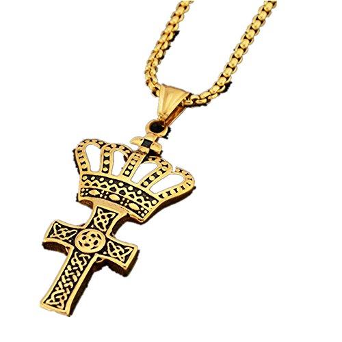 mcsays Hip Hop Schmuck Kreuz Krone Anhänger Box Kette Einzigartige Edelstahl Halskette Fashion Zubehör Herren Geschenk (Schmuck Box Organizer Billig)