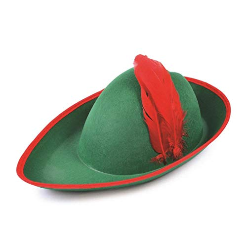 Red Hood Kostüm Robin - Islander Fashions Adult Green Hat mit Red Feather Unisex Junggesellenabschied Kost�mzubeh�r One Size