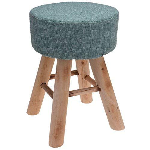 Weich Rund Pouffe Chair Ottomane Kissen Hocker Fußstütze Stuhl mit Hölzern Beine - Türkis