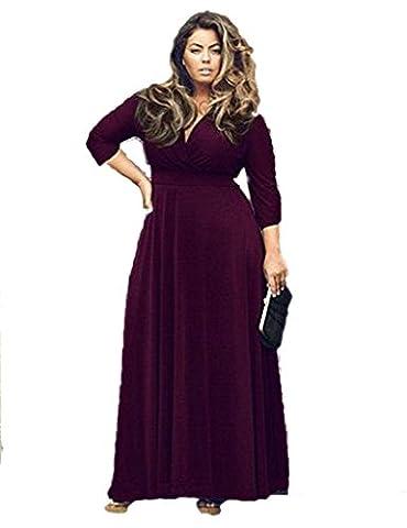 Plus Size Fashion couleur unie salopette jupe robe de soirée robe , purple , 2xl