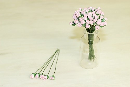 50 rosa kleine Rose Scrapbook Handwerk 5mm Mulberry Papier Blume Karte Mi, Dollhous