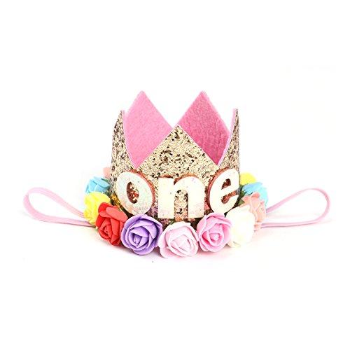 TOYMYTOY Princesa bebé flor corona diadema cumpleaños accesorios para el cabello B tipo 1 (dorado)