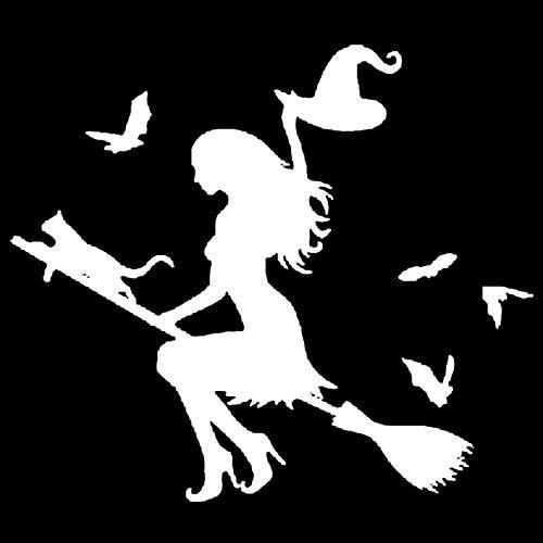 Oce180anYLV Car Sticker Haus Kleine Hexe Auto Aufkleber, Hexe auf fliegenden Besen Auto Auto Aufkleber Stoßstange Fenster Laptop Halloween DIY Aufkleber White