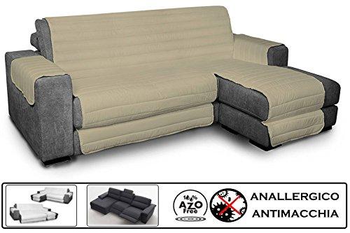 Biancheria&casa copridivano angolare con penisola antimacchia per divano con chaise longue relax : colore - tortora, misura - 290 cm.