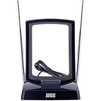 Antenne Portable Intérieure / Extérieure Filtre 4G Intégré pour TV TNT HD / Récepteur Télévision Numérique / PC TV USB / Radio FM / DAB – August DTA280 Antenne Dipôle et Télescopique – Double Antenne - Compatible UHF - VHF AM / FM / DAB / DVB-T / DVB-T2 MPEG4 (H.264)