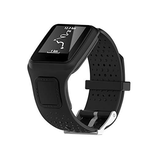 Huhu833 Sport Armband für Tomtom Multi-Sport, 22 MM Weiche Silikon Atmungsaktiv Uhrenarmband Schnellspanner Ersatzarmband Kompatibel für Tomtom Runner GPS Uhr (Schwarz)