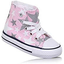 756838C CONVERSE blanco plateado plata del oro de los zapatos de bebé blanco Estrella Todos los mediados estrellas