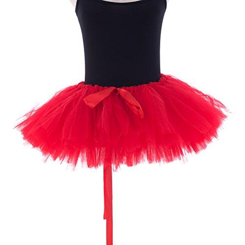 Honeystore Damen's Retro Rockabilly Swing Petticoat Ballett Tutu Unterrock in verschiedenen Farben One Size Rot (Karo-rock Im Schuluniform)