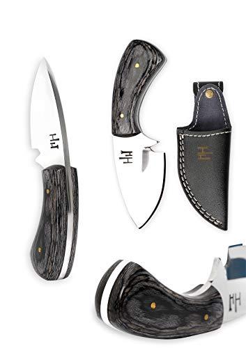 Hobby Hut HH-901, 11.9 cm, 01 Kohlenstoffstahl, Jagdmesser, Micarta Griff, lederscheide