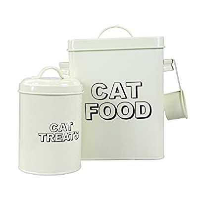 CrazyGadget® Vintage Classic Retro Cat Food Treats Storage Container Set - Cream