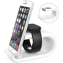 MoKo Apple Watch Serie 1 & 2 / iPhone Soporte - Portátil Base de Carga Acrílico Dual Charging Stand Station Cradle Holder Escritorio para Apple iWatch 38mm / 42mm 2015 & 2016, iPhone 7 / 7 Plus / 6S / 6S Plus, Plata