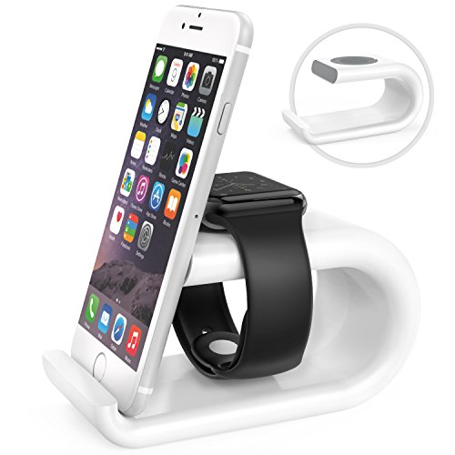 MoKo Stand per Apple Watch & iPhone - Supporto/Dock Stazione di Base per Ricarica da Tavolo con Angolo di Visione Comodo per Apple Watch Series 1 & Series 2, iPhone 7 / 6s / 6s Plus / 6, Bianco