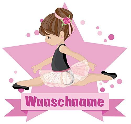 Samunshi® Ballerina Aufkleber mit Namen Autoaufkleber Namensaufkleber Kinder in 7 Größen (15x13,1cm Mehrfarbig)