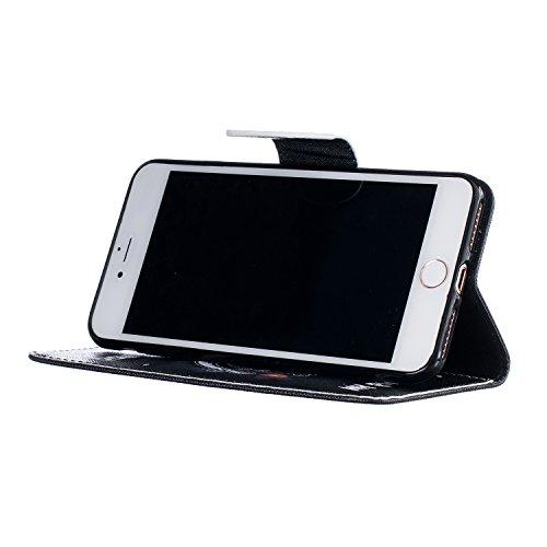 A9H Apple iPhone 7 PLUS 5.5 Leder Etui Tasche Handytasche Stand Hülle Etui with Karte Halterung Leder Wallet Klapphülle Flip Book Case,Flip Case Wallet Cover Tasche PU Leder Handytasche Handyhülle Sch 14HUA