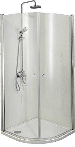 Sanotechnik Rund-Duschkabine mit zwei Flügeltüren, chrom - Maße: 90 x 90 x 195 cm