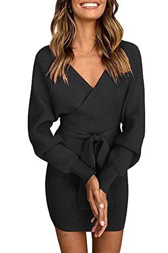 Pulloverkleid Damen Kleider Elegant Strickkleid V-Ausschnitt Langarm Tunika Kleid Minikleid Mit Gürtel (Schwarz, S)