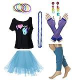 Fun Daisy Clothing Damen I Love The 80er Jahre T-Shirt 80er Jahre Outfit Zubehör, Himmelblau - UK 18-20 / XL-XXL
