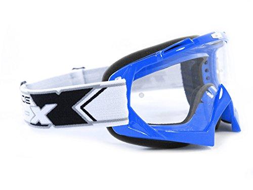 TWO-X Race Crossbrille MX Brille blau Motocross Enduro Klarglas Motorradbrille Anti Scratch MX Schutzbrille