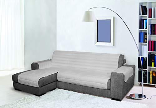 Trendy Copridivano con Penisola, Grigio, 240 cm