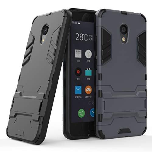 tinyue® Handyhülle für Meizu M5C, Hülle 2 in 1 Material Harte Schwer doppelte kratzfester Handyfall im Freienhandyfall Iron Man Rüstung mit Kickstand Case, Dunkelblau
