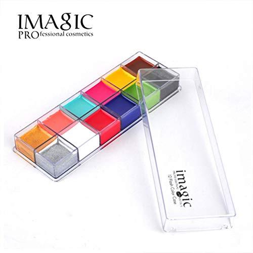 ionelle Gesichtsbemalung Waschbar Körper Tattoo Make-up Malerei Set 12 Farben Imagic Flash Face Painting Palette Kompatibel für Kinder Erwachsene ()