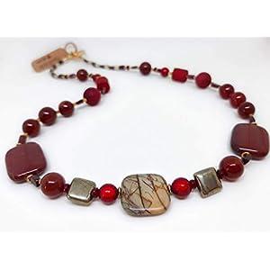 Designer Halskette mit Picasso Stein und rotem Jasper