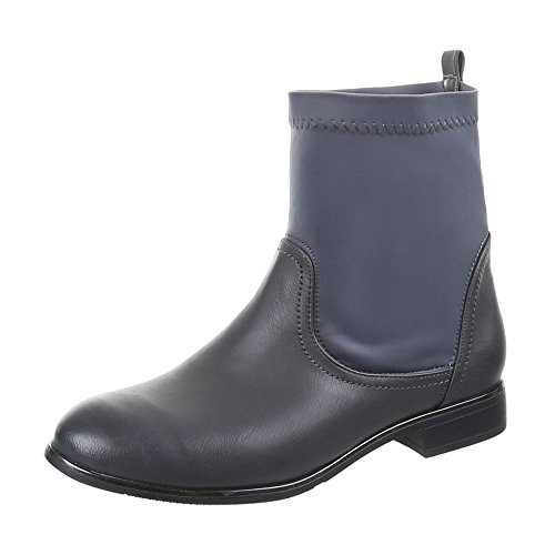 Damen Schuhe, 806-PA, STIEFELETTEN Grau