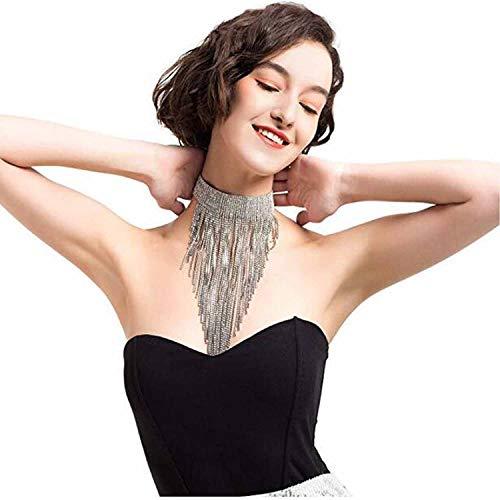 Czemo nappa collana girocollo con strass statement collane moda jewelry collana per donna con confezione regalo (taglia l)