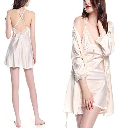 GHFDSJHSD Damen Sexy Satin Kleider Kleider Brautjungfer Kimonos Nachtwäsche Robes 2 Stücke, 175 (XXL) -