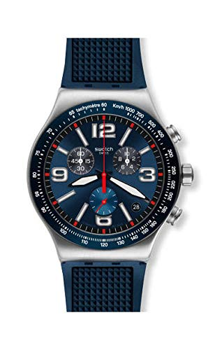 Swatch Herren Chronograph Quarz Uhr mit Gummi Armband YVS454