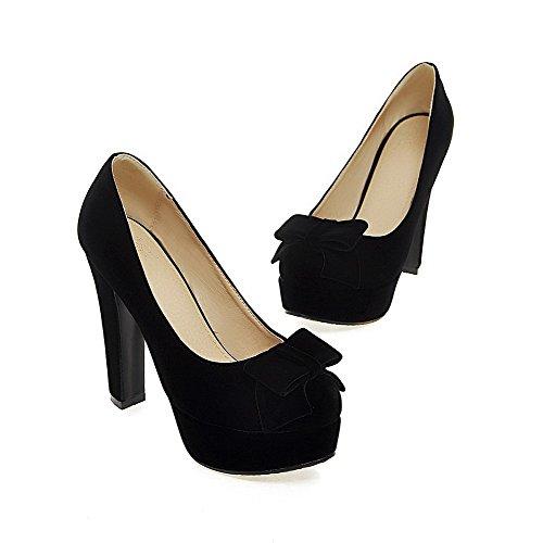 AgooLar Femme Rond à Talon Haut Dépolissement Couleur Unie Tire Chaussures Légeres Noir