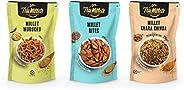Trumillets | Healthy Millet Snack | Namkeen | Khara Chivda, Millet Bites and Murukku -125g Each