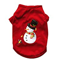 Doggie Style Store Christmas Xmas T-Shirt Snowman Red Dog Puppy Pet Cat Kitten Vest Top Shirt