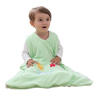 Saco de dormir para bebé, de algodón, para niños, recién nacidos, 2,5 TOG Verde: búho y estrella.