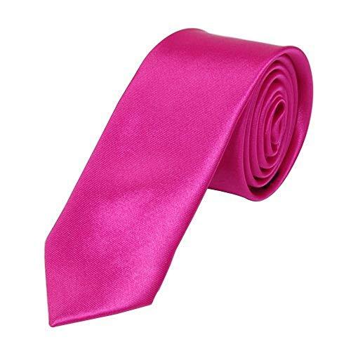OM3® K-24 Pinke schmale Krawatte Herren Smoking Slim Uni Tie Hochzeit Business Schlips dünn Handmade (PINK) - Slim-krawatte Tie