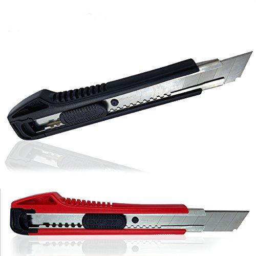 7 Premium Cuttermesser 18 mm mit Schnellverschluss und Abbrechklingen- extrem scharfe Teppichmesser mit Ersatzklingen und Spezialfunktionen - Griff für besseren Halt